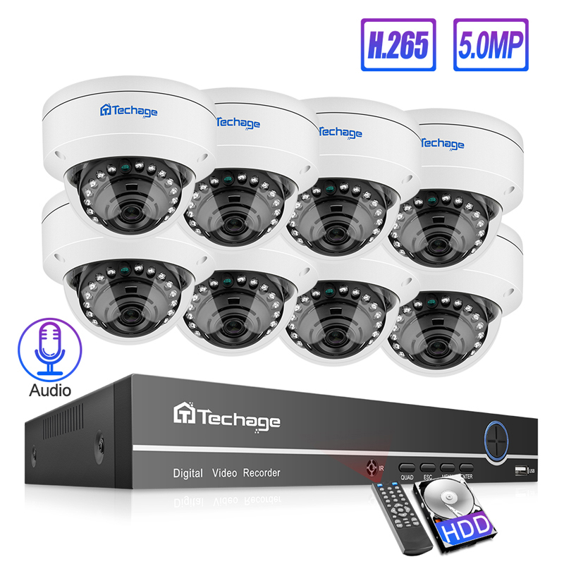 Techage 5MP H.265 POE NVR Dome Kamera System 5MP Audio Sound Rekord Vandalproof Indoor CCTV Sicherheit P2P Video Überwachung Set