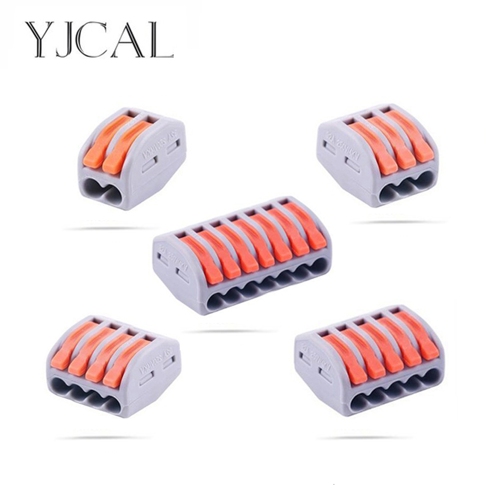 YJCAL 30 50 100 PCS Wiring Connector Push-in Terminal Block Electrical Cage Spring Universal Fast Wire Connectors Household