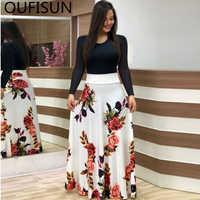 Oufisun Sommer Casual Volle Hülse Dünnen Langen Kleid Mode Oansatz Druck Party Kleid Vintage Frauen Kleider Vestidos Plus Größe 5XL