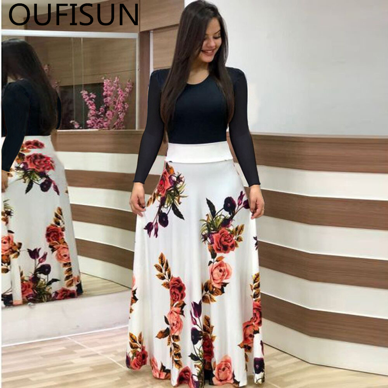 Oufisun Summer Casual Full Sleeve Slim Long Dress Fashion O-neck Print Party Dress Vintage Womens Dresses Vestidos Plus Size 5XL