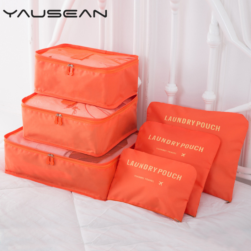 6PCS/set Travel Packing organizers waterproof Nylon Luggage Suitcase Pouch Clothes finishing package accessories home products