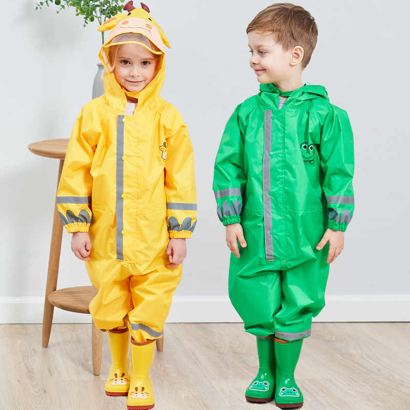 Kids Hooded Rainsuit Waterproof Coverall Toddler Rain Wear for Boys and Girs 2-10 Y