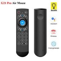 G21 PRO Q7 ratón de aire 2,4G inalámbrico retroiluminada Gyro IR aprendizaje Control remoto por voz para Ugoos X3 PRO H96 MAX Android TV Box