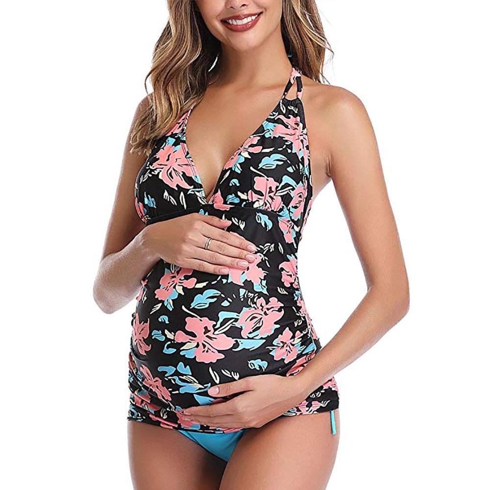Peneirar verão moda maternidade maiô suspender praia folha impressão banho beachwear para grávidas embarazada gravidez xxl