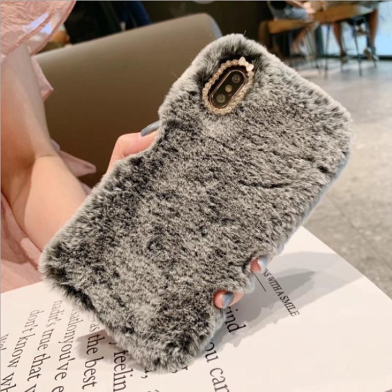 2020 sevimli sıcak tavşan kürk peluş elmas telefon iphone için kılıf 11 güzel sevimli kürklü yumuşak TPU saç arka kapak