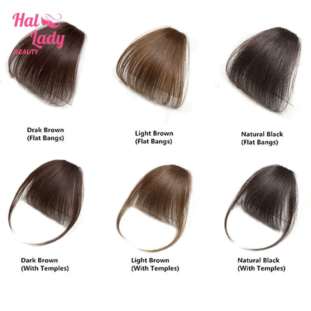 Halo Lady Beauty Natural Clip In Bangs Human Hair Air Fringe Bangs Invisible Indian Hair Pieces Non-remy Replacement Hair Wig