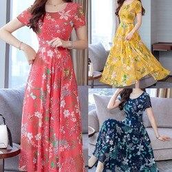 Женские летние платья 2021, сексуальное пляжное длинное платье с круглым вырезом и цветочным принтом в стиле бохо, свободное мини-платье с кор...