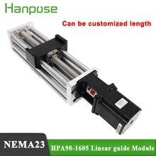 HPA90 دليل خطي الشريحة السكك الحديدية نك مرحلة صغيرة المحرك المسمار الرصاص الحركة الجدول نظام Nema23 محرك متدرج + SFU1605 الكرة اللولبية