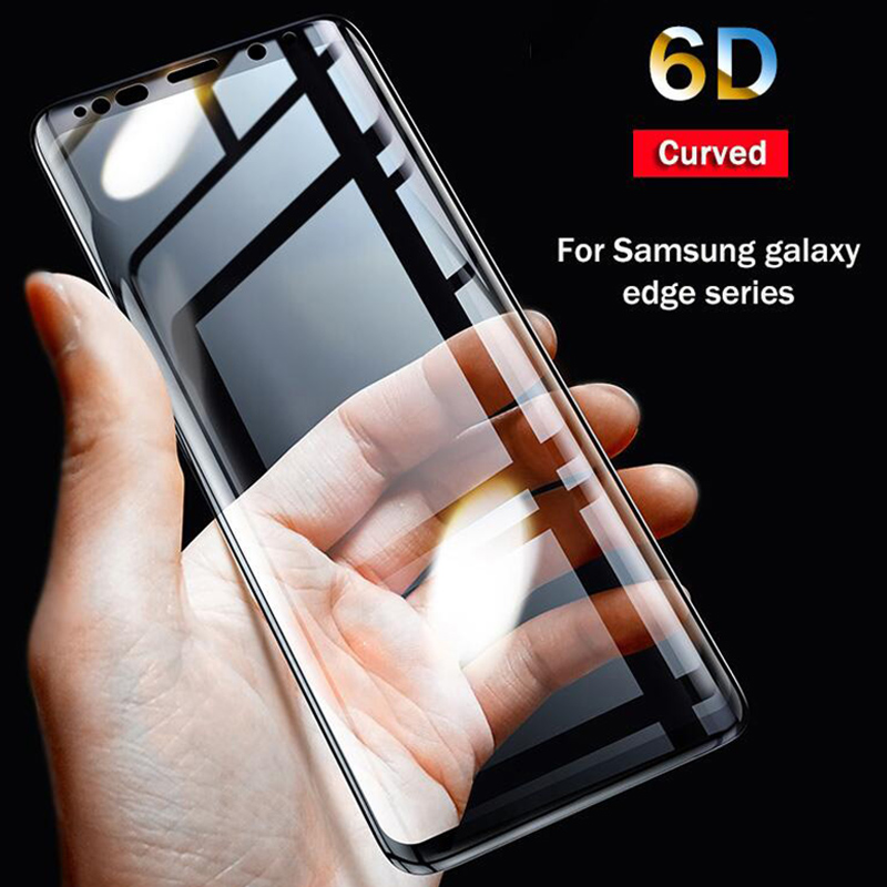 6D Full Curved 5D Tempered Glass For Samsung Galaxy S8 S9 Plus 3D Screen Protector Film S6 S7 Edge A6 A8 Plus 2018 Cover Case image