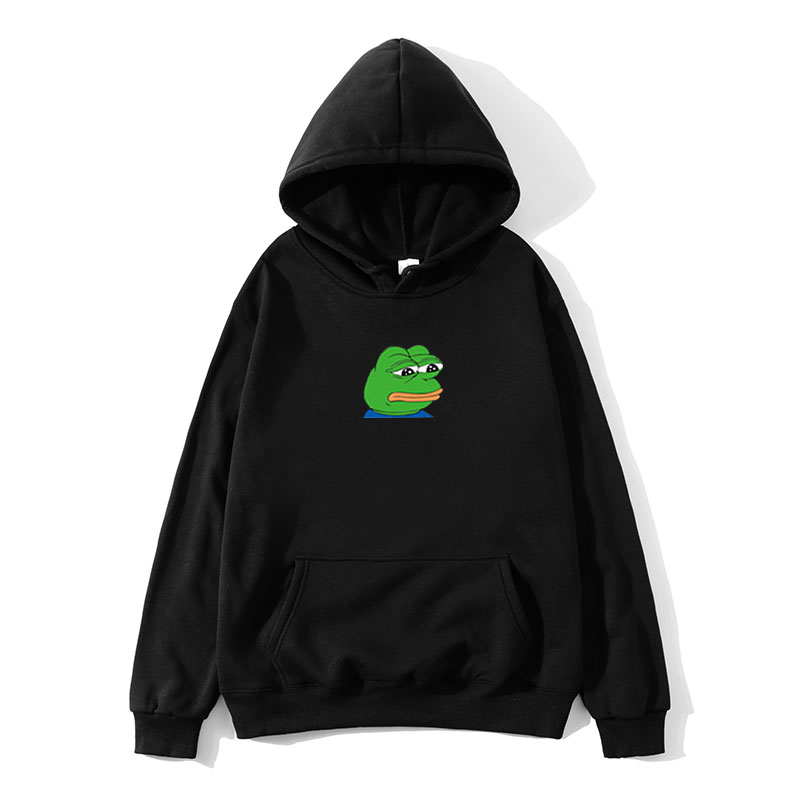 Harajuku Hip Hop Hoodies Sweatshirt Male Japanese Fashion Casual Hoodie Sad Tearing Frog Print Hoodies Men Hooded Sweatshirts