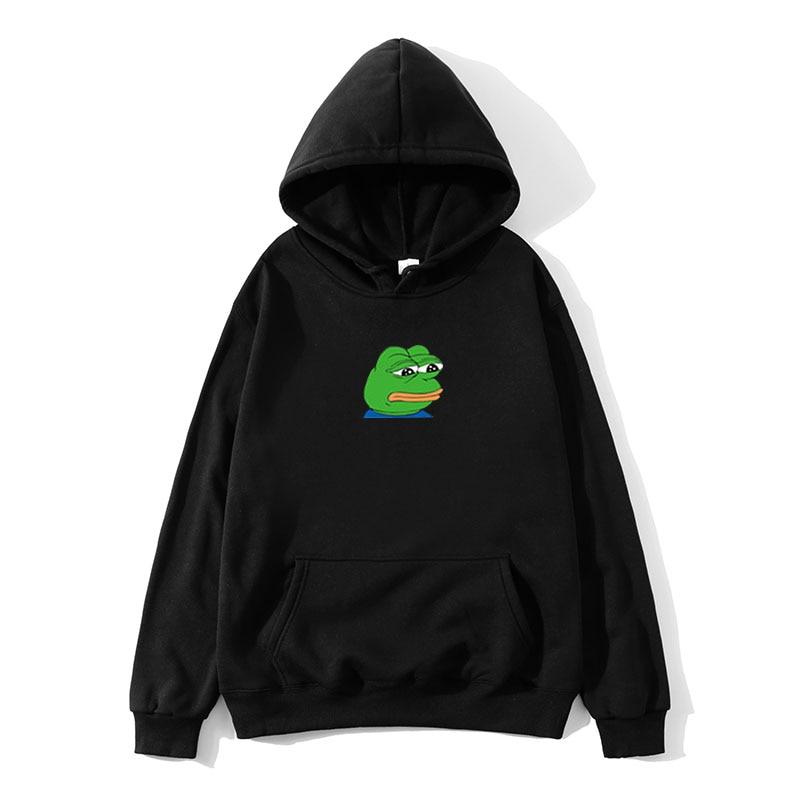 Harajuku Hip Hop Hoodies Sweatshirt Male Japanese Fashion Casual Hoodie Sad Tearing Frog Print Hoodies Men Hooded Sweatshirts