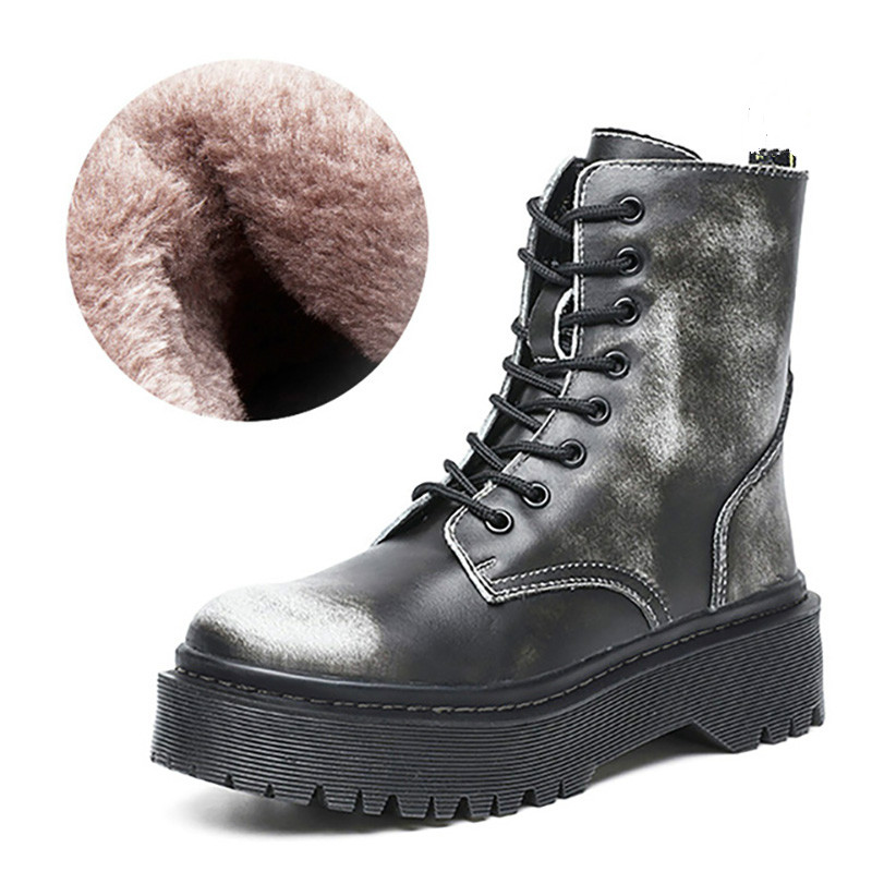 Winter Motorcycle Boots Women Warm Plush Snow Boot Genuine Leather Rubber Platform Lace Up Punk Military Ladies Shoe Botas Mujer