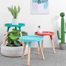 Tray Tea-Table Iron Round Living-Room Small Sofa Modern Nordic Minimalist Solid-Wood