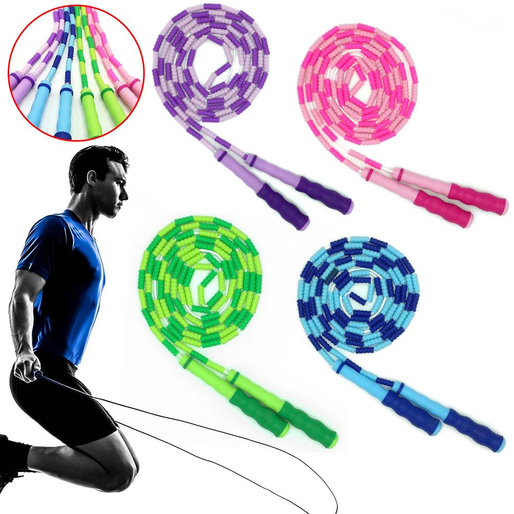 270cm Pattern Bamboo Jump Rope Adult Children Fancy Beaded Skipping Rope Green/purple/blue/red Jumping Rope Training