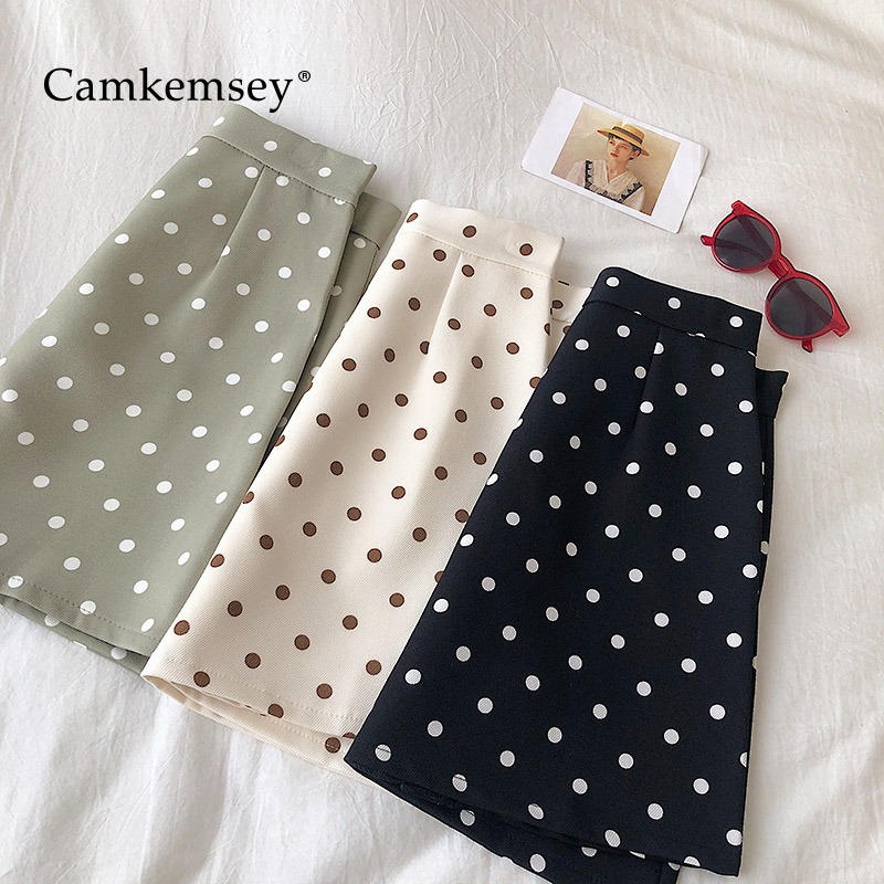 CamKemsey Polka Dot Print Mini Skirts Women 2020 Casual High Waist School Girls Summer A-Line Skirts Holiday Feminine