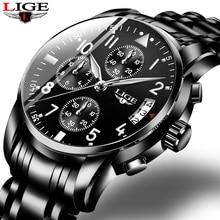 2019 Mens Watches Top Brand Fashion Chronograph LIGE Black Quartz Watch Stainles