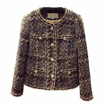 2019 Spring Autumn New Coat Star The Same Wind Wool Short Women Plaid O-Neck Single Breasted Fashion Jacket
