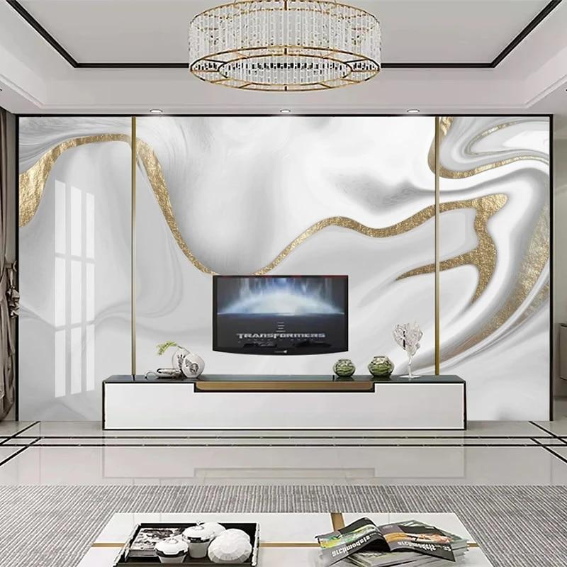 Custom Mural Wallpaper Modern 3d Golden Line Jazz White Marble Wallpaper Living Room Tv Sofa Abstract Art Wall Papers Home Decor Wallpapers Aliexpress