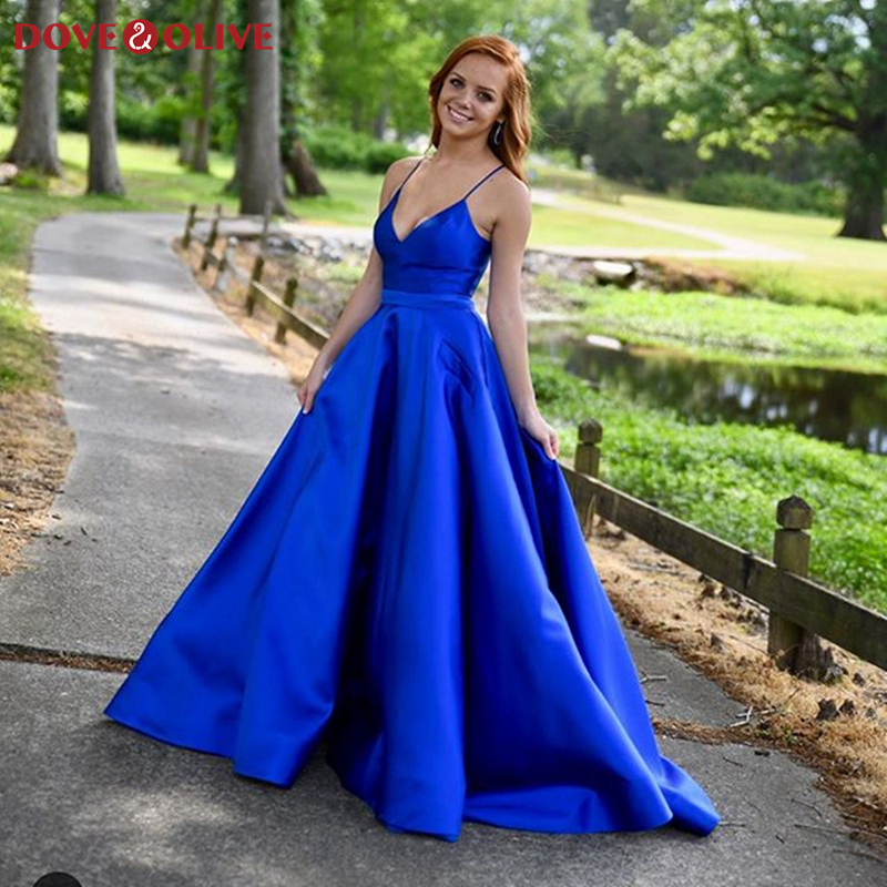 2020 Royal Blue Women Prom Dresses Sexy V-Neck Spaghetti Straps Formal Party Backless Elegant Evening Gowns vestidos de gala