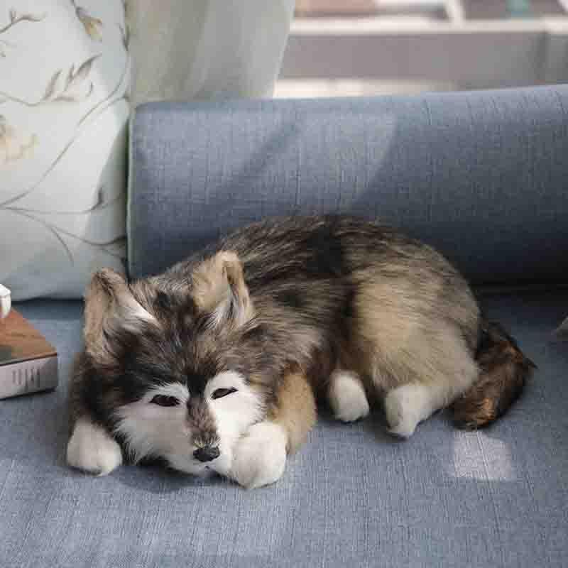 Grande taille en peluche animaux figures réalistes chiens modèles réalistes accroupi husky poupées créatif décoration de la maison enfant cadeau d'anniversaire
