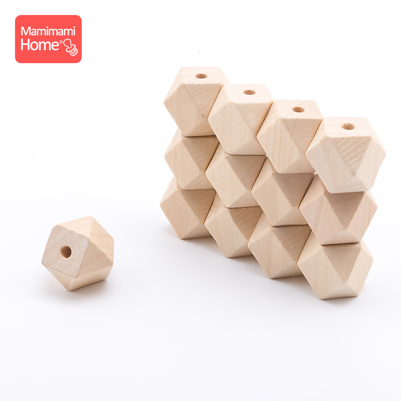 5pc 10mm-20mm Maple Wooden Hexagon Beads Baby Teether DIY Nursing Bracelets Pacifier Pendant Wooden Blank Children'S Goods Toys