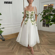 Fivsole 2021 White A Line Evening Dresses With Tie Shoulder Straps Floral Flowers Prom Gowns Ankle Length Formal Party Dress