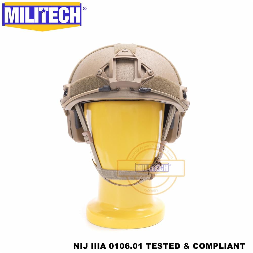 MILITECH Ballistic Helmet FAST CB Deluxe Worm Dial NIJ Level IIIA 3A High Cut ISO Certified Twaron Bulletproof Helmet DEVGRU
