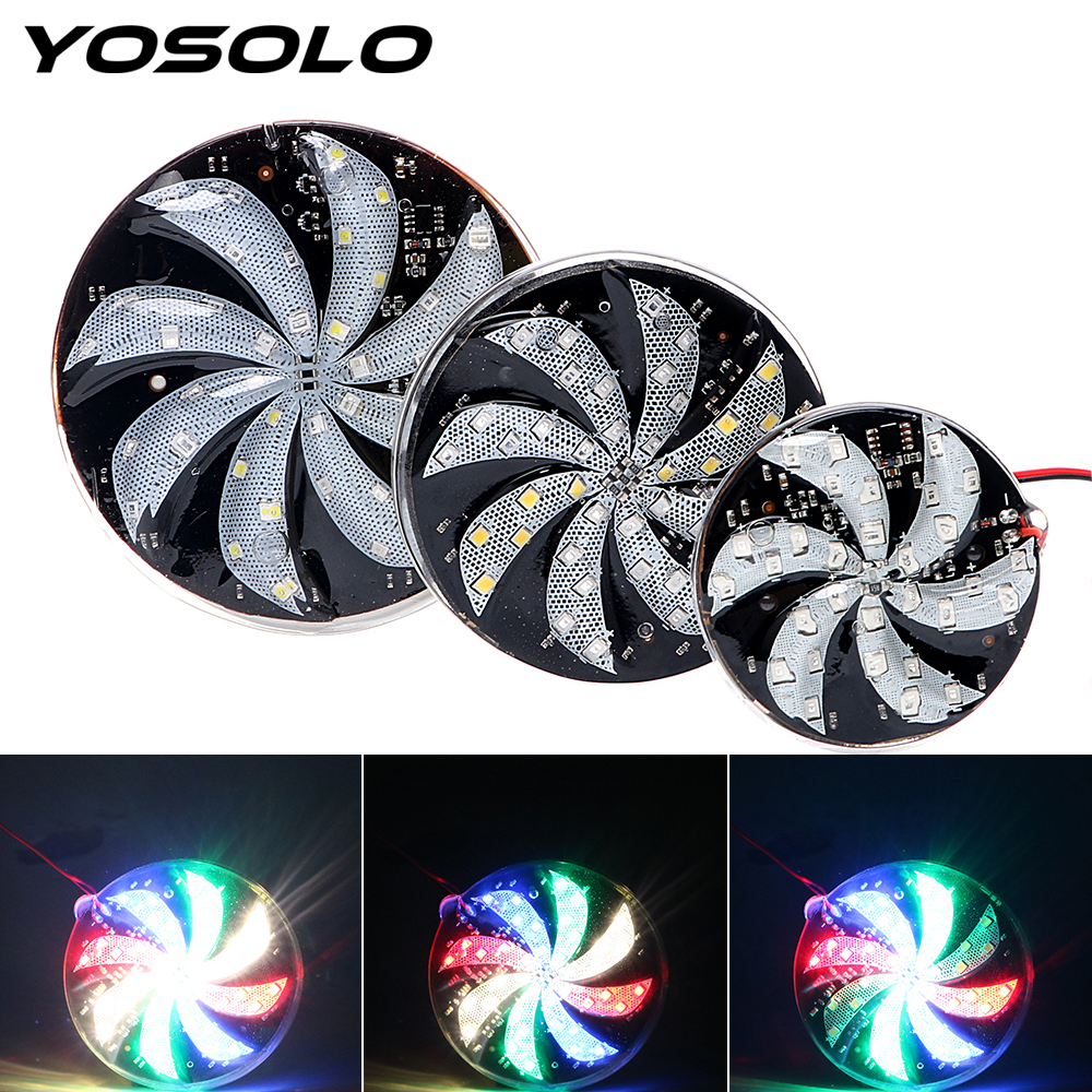 YOSOLO Motorcycle Car 12V Modified Windmill Lights Car Styling LED Strobe Light Colorful Lights Flash Lamp Atmosphere Lamp
