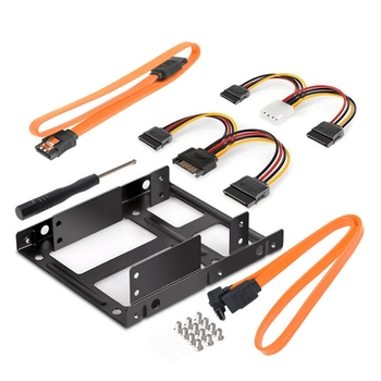 2.5 to 3.5 Inch Dual Hard Disk Metal Bracket Adapter HDD Holder with Double SATA & Power Cable for Desktop 1