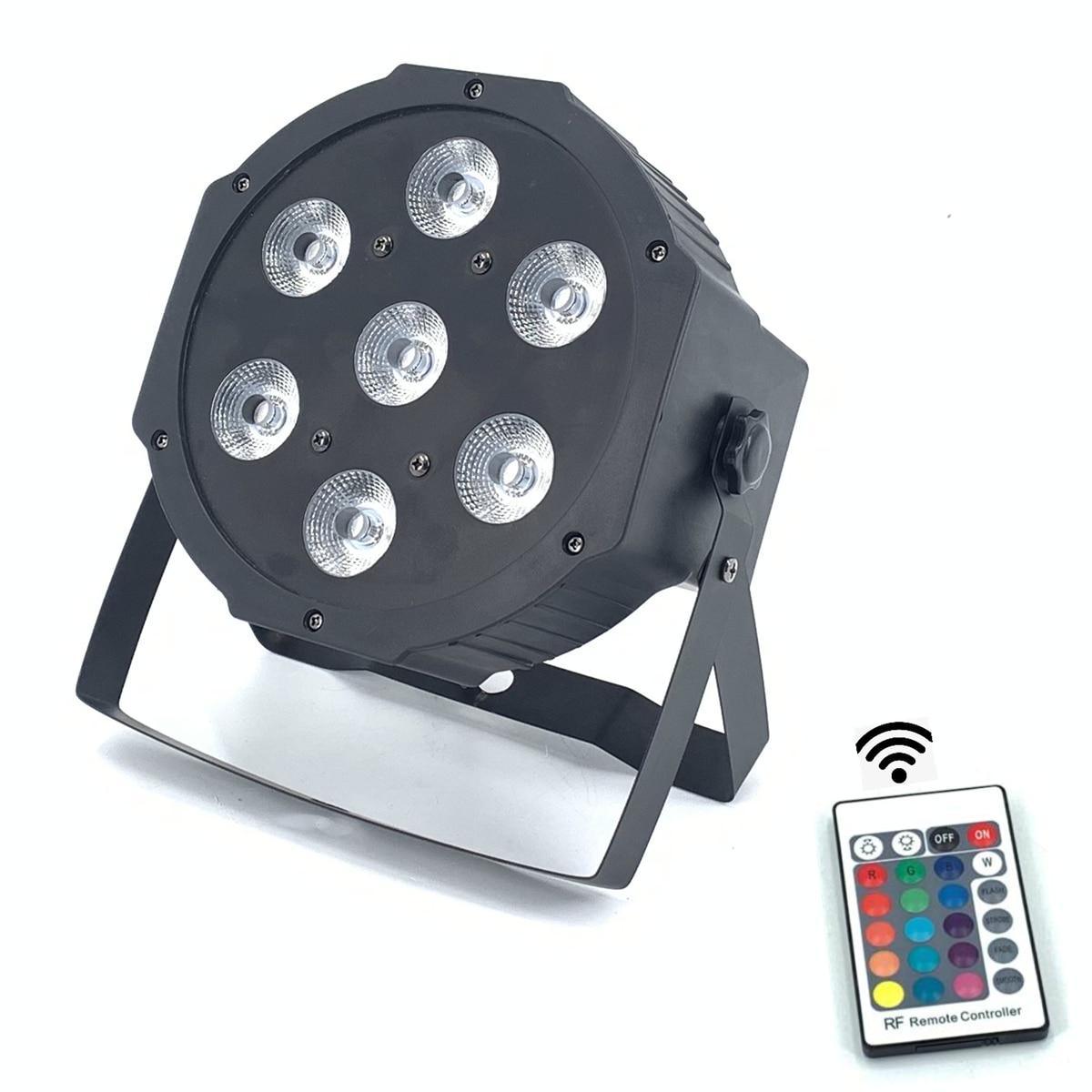 รีโมทคอนโทรลไร้สาย LED สว่าง 8 ช่อง dmx Led Flat Par 7x12W RGBW 4IN1 Fast Shipping