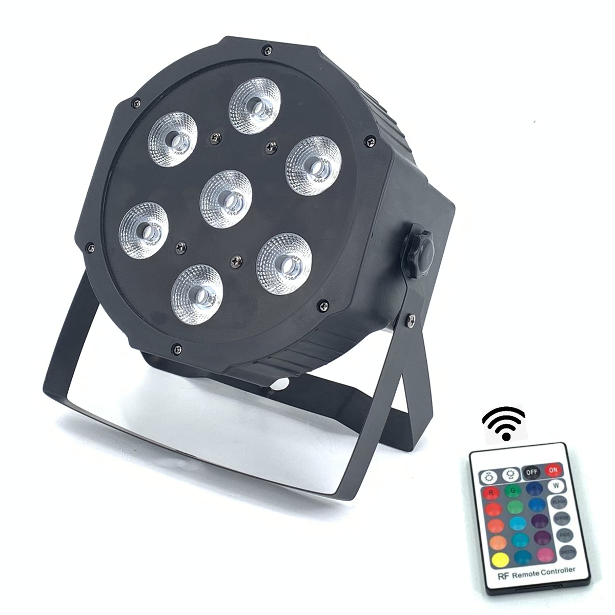 Wireless Remote Control LED The brightest 8 dmx Channels Led Flat Par 7x12W RGBW 4IN1 Fast Shipping