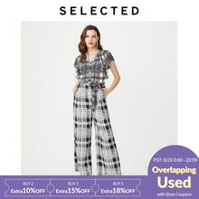 SELECTED Women's V-neckline Plaid Buckled Jumpsuit S|419344507(China)