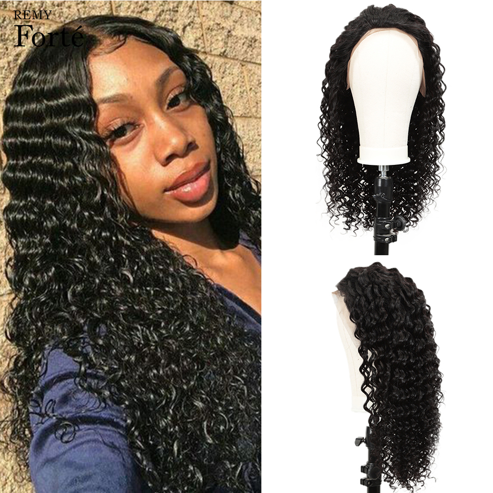 Remy Forte 13X4 Lace Front Human Hair Wigs Curly Human Hair Wig Deep Wave Lace Wigs Short Human Hair Wigs Natural Color Lace Wig
