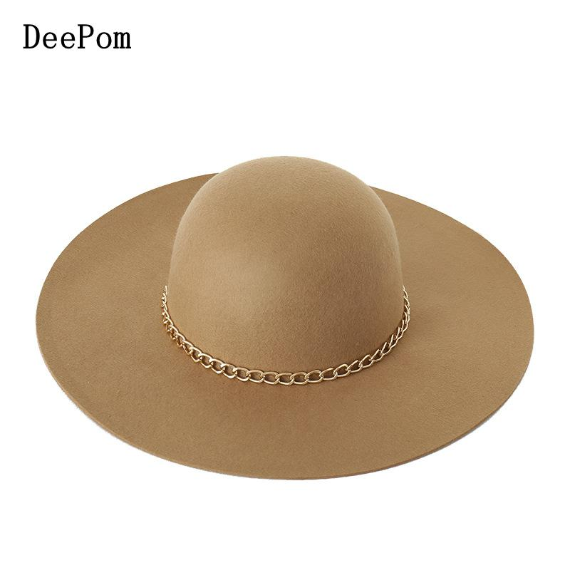 DeePom Women Hat 100% Wool Fedora With Gold Chain Lady Vintage Bonnet Autumn Winter Hats For Women Wide Brim Elegant Top <font><b>Church</b></font> image