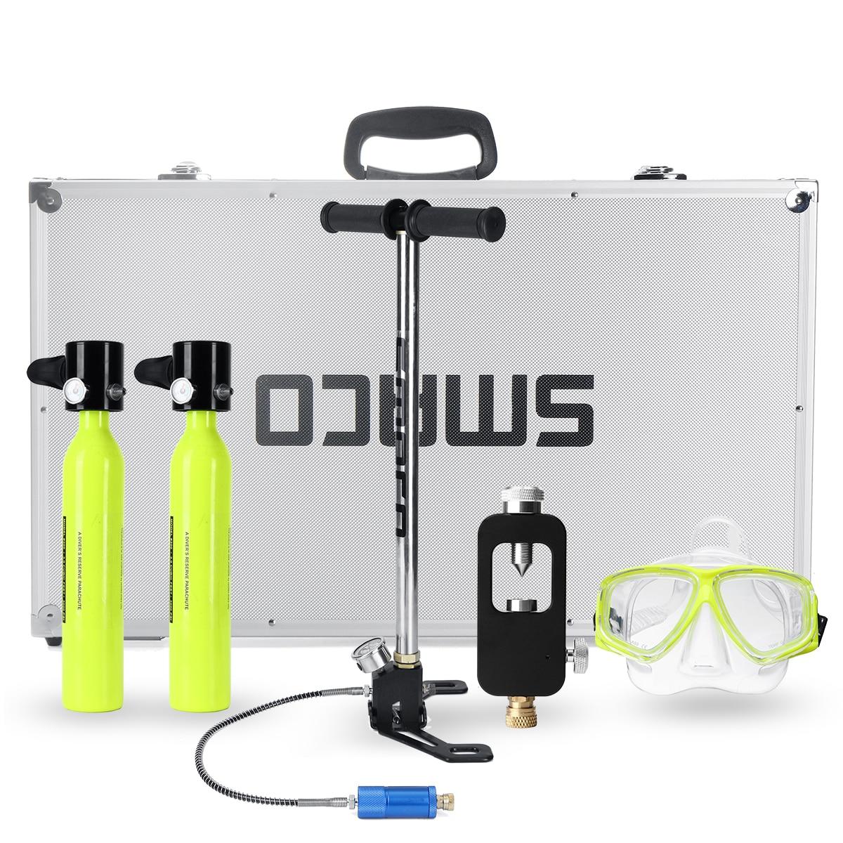 6 In 1 Diving System Mini Scuba Cylinder Scuba Oxygen Reserve Air Tank Pump Aluminum Box Snorkeling Diving Equipment Set