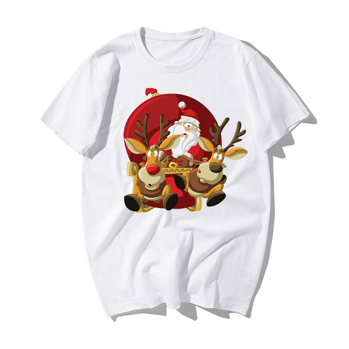 Funny Santa Claus Reindeer Happy New Year T-shirts Men Merry Christmas Tshirts Mens Casual 100% Cotton Xmas Lovers Gift Tshirt