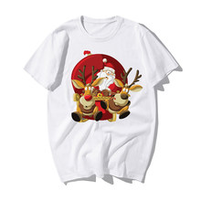Funny Santa Claus Reindeer Happy New Year T-shirts Men Merry Christmas Tshirts Mens Casual 100% Cotton Xmas Lovers Gift Tshirt(China)