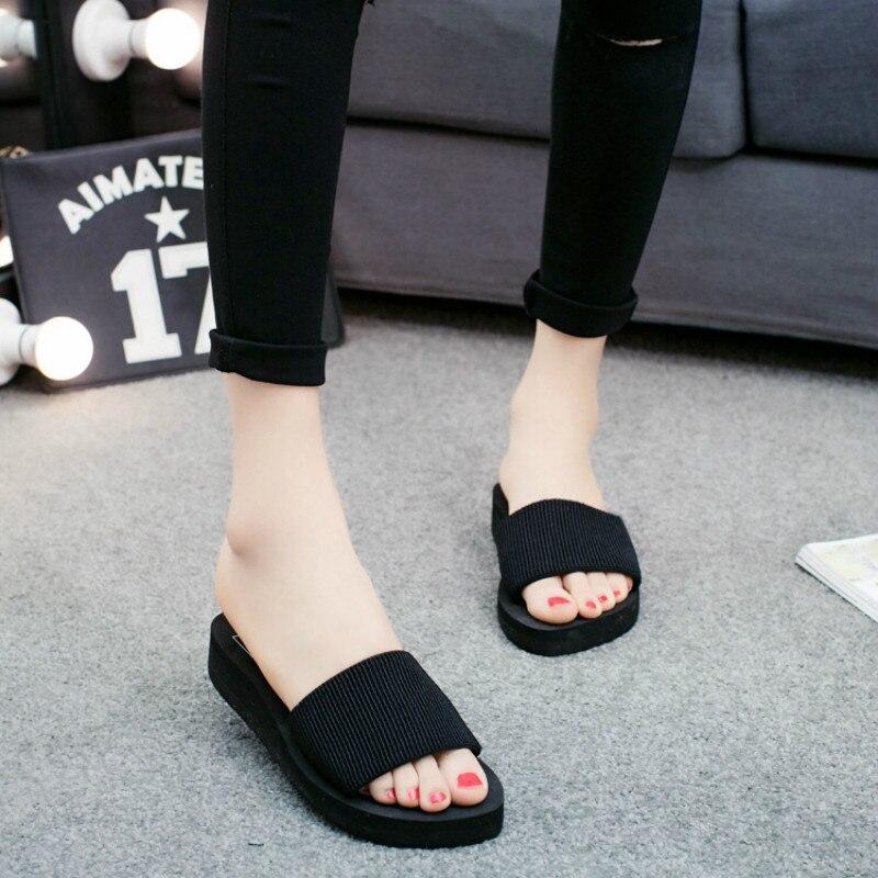 Summer Slippers Women Platform Bath Slippers Wedge Beach Flip Flops High Heel Slippers For Women Brand Black EVA Ladies Shoes