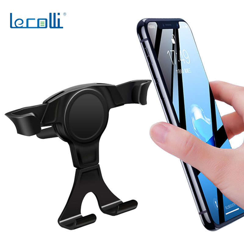 Car Gravity Mobile Phone Bracket Lazy Universal Air Outlet Universal Car Mobile Phone Navigation Car Bracket Cartoon Black