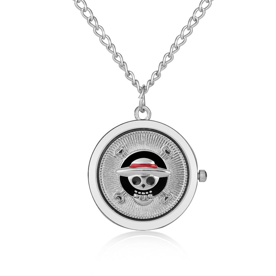Silver Mini Kids Necklace Pocket Watch Quartz Movement Hot Japanese Anime Theme Boy Girls Pendant Clock Birthday Gifts Fob Chain
