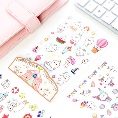 6 Pcs/set Cute First Season White Pet With Grass Stickers Diary Sticker Scrapbook Decoration PVC Stationery Stickers