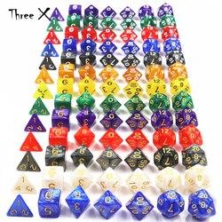 Подземелья и Драконы 7 шт./компл. креативная РПГ игра игральные кости D & D красочные разноцветные игральные кости смешанные белые D4 D6 D8 D10 D12 D20 ...