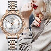 SUNKTA Rose Gold Watches Women Bracelet Diamond Wrist Watch For ladies Watches Female Fashion Stainless Steel Girls Clock +Box