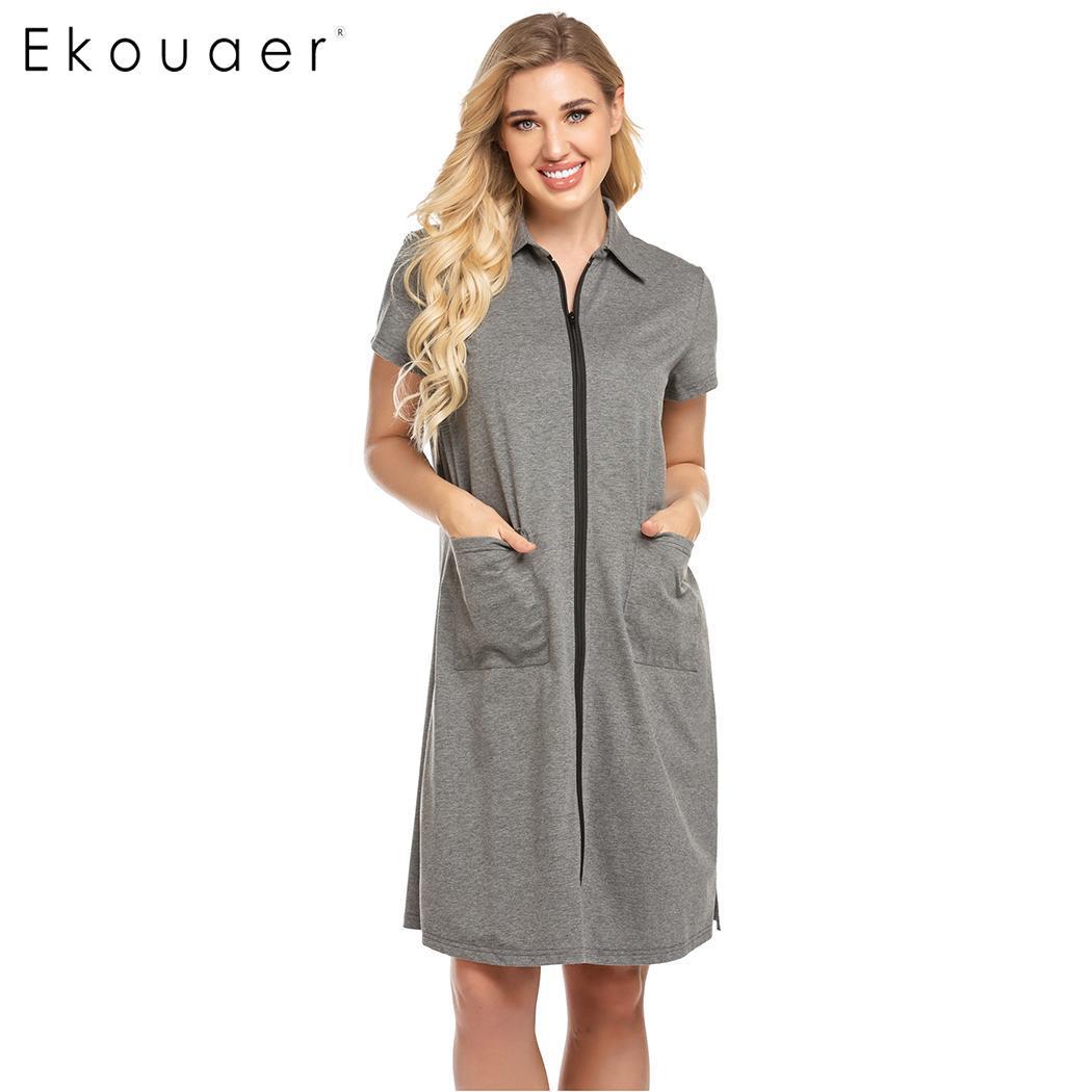 Ekouaer Women Sleepwear Summer Robes Turn Down Collar Short Summer Sleeve Loose Pocket Zipper Midi Bathrobes Home Dressing Gown