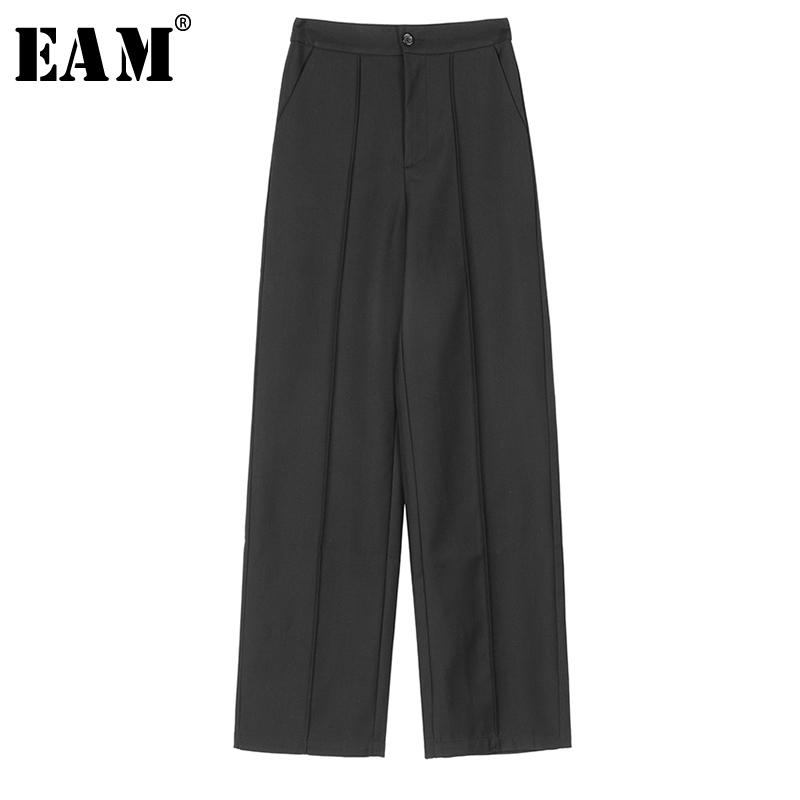 [EAM] High Elastic Waist Button Pocket Trousers New Loose Fit Ankle-length Harem Pants Women Fashion Spring Autumn 2019 1A109