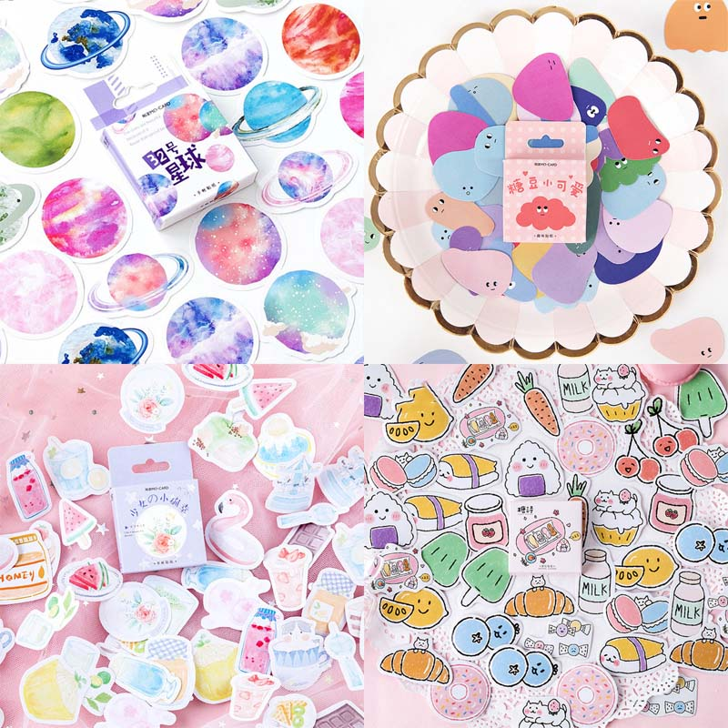 46Pcs Cute Cloud Stickers Kawaii Stationery Stickers Paper Adhesive Sticker For Kid DIY Decor Scrapbooking Diary Albums Supplies