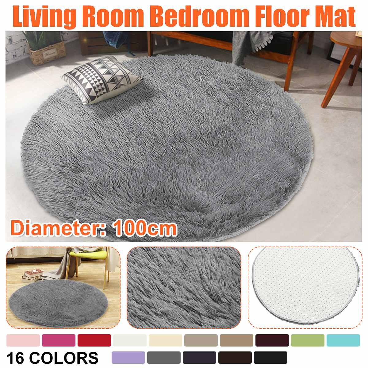 Diameter 100cm Round Floor Mat Cover Anti-skid Shaggy Area Yoga Rug Home Living Room Bedroom Carpet Blanket Mat