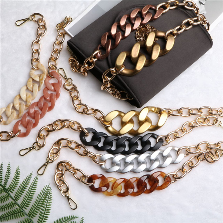 43cm Retro Acrylic Alloy Mix Chains Vintage Shouder Strap Luxury Designer Handbags Crossbody Bags Belt Bag Accessories Quality