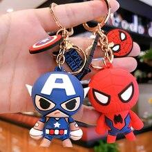 Marvel Spiderman superhéroe Iron Man llavero de caricatura vengadores Anime figura bolsa de PVC clave colgante regalo de Juguetes