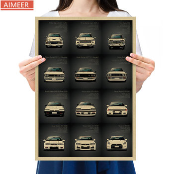 Famous car brand advertising pictures, retro kraft paper posters, GT-R series models, bar cafe home decoration paintings image